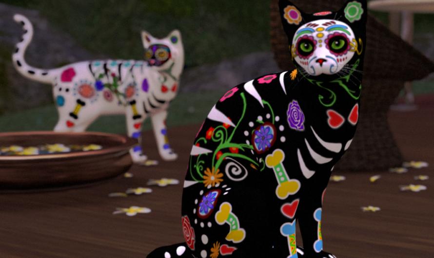 Sugar Skull Cats and Owl!